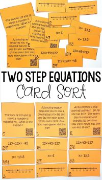 Writing & Solving Two Step Equations on a Number Line ...