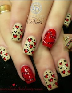 Luminous nails red beige  black with hearts also romantic and lovely nail art design for valentine  day rh pinterest
