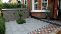granite paving bike store topiary porch and path victorian ...