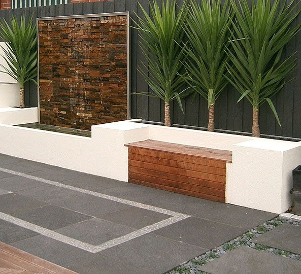 Bench Seat Along House Brick Wall Love This Water Feature Along