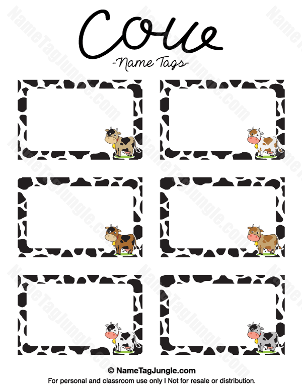 Free printable cow name tags. The template can also be