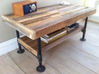 Industrial wood & steel coffee table or media stand ...