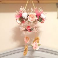 Flower mobile for baby girl floral nursery in peach, gold ...