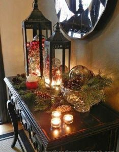 Christmas decorating like they do in magazines love the lights lantern ornaments  what cute and easy idea also pinterest ideas for outside inside merry rh
