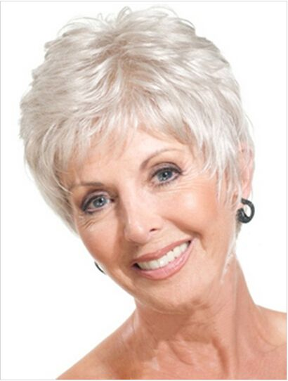 Short Straight Mother Gray Hair Wigs Fashion Heat Resistant