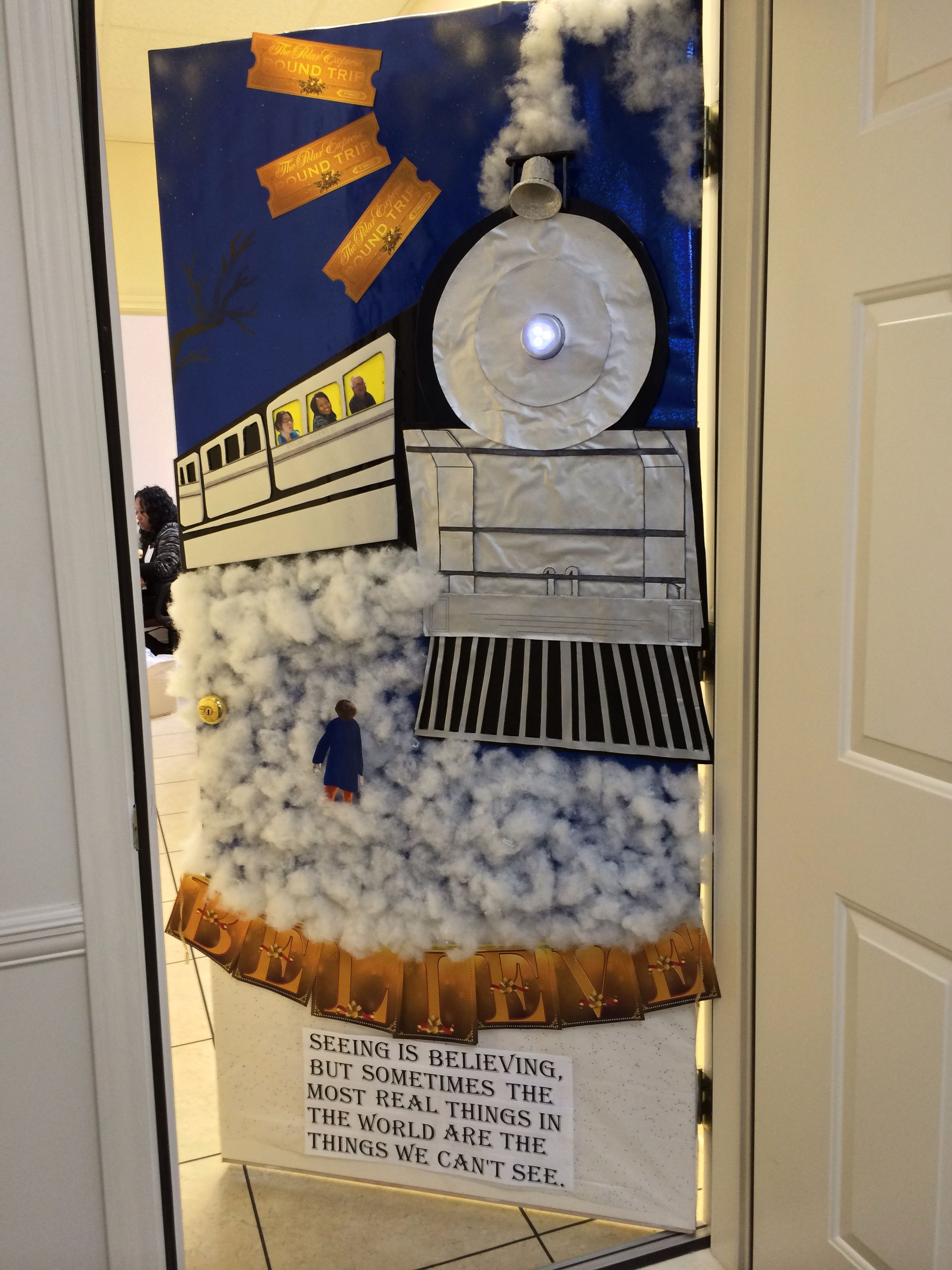 Polar Express Door Decoration at work