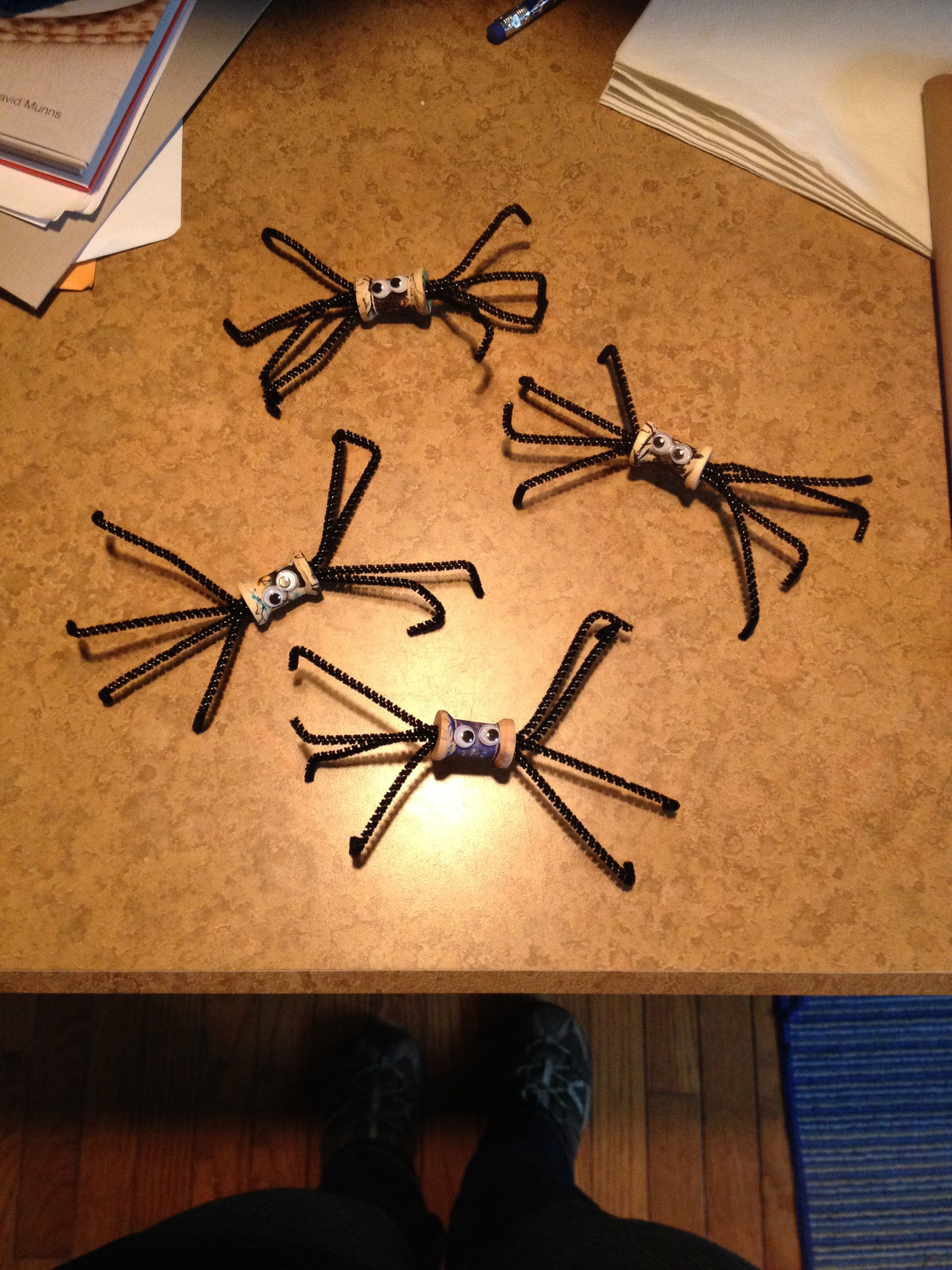 Spool Spiders Using Small Wooden Spools And Black Thin