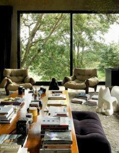 Compact leo romano concrete and glass house of casa da caixa vermelha beautiful living room decor idea with long wooden table contains  also by livingroom pinterest rh
