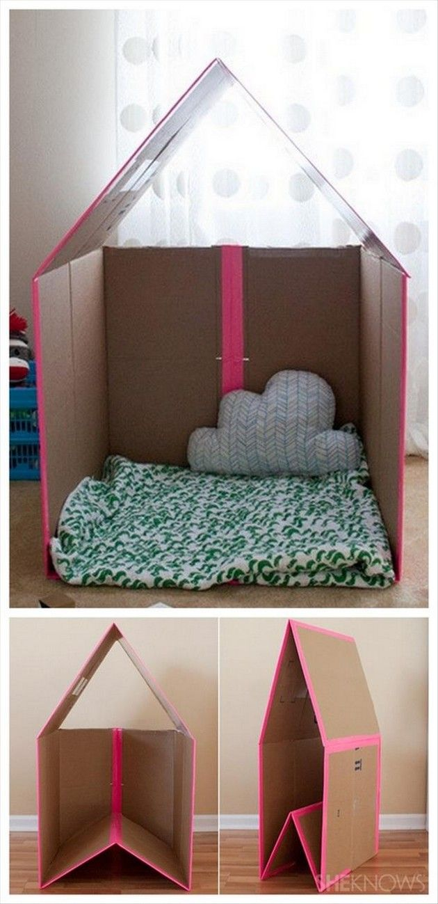 Cool Craft & DIY Ideas – Kids Playhouse Old Cardboard boxes – cute for future, maybe could make in the classroom??