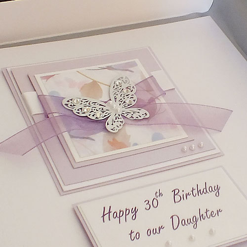"Luxury Handmade Birthday Card ""Large Lilac Butterflies"