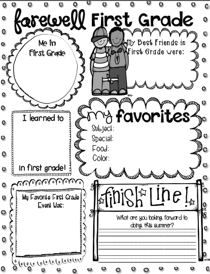 FREE End of the year printable for kdg. through 4th grade