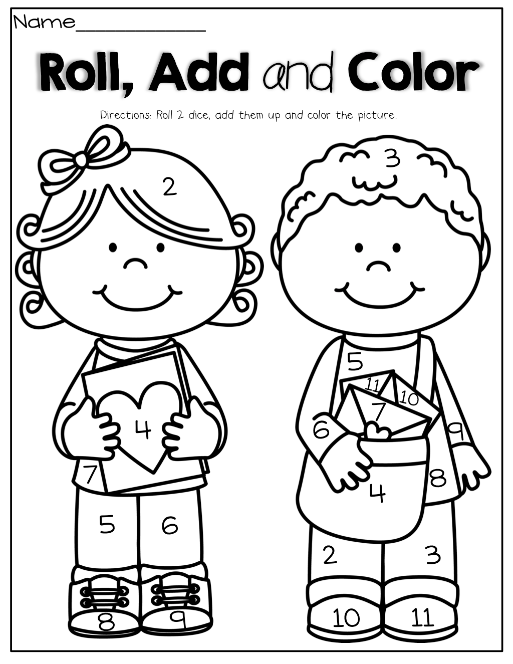 Roll, Add and Color! Roll 2 dice, add them up and color