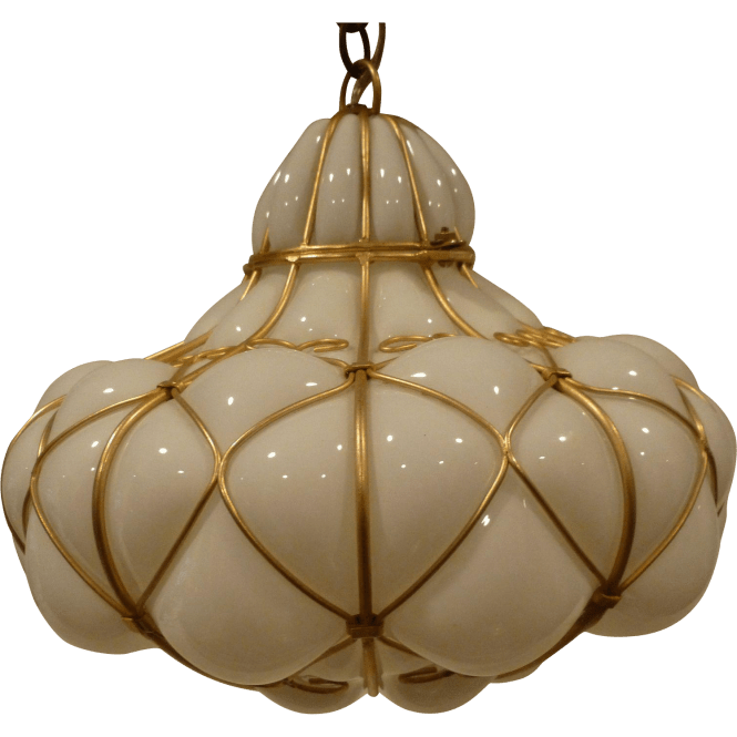 Murano Glass N In Wire Hanging Pendant Chandelier Light Circa 1950 S For Your