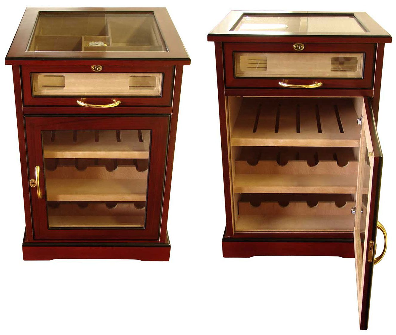Cuban Crafters Wine and Cigars Cabinet Humidor End Table
