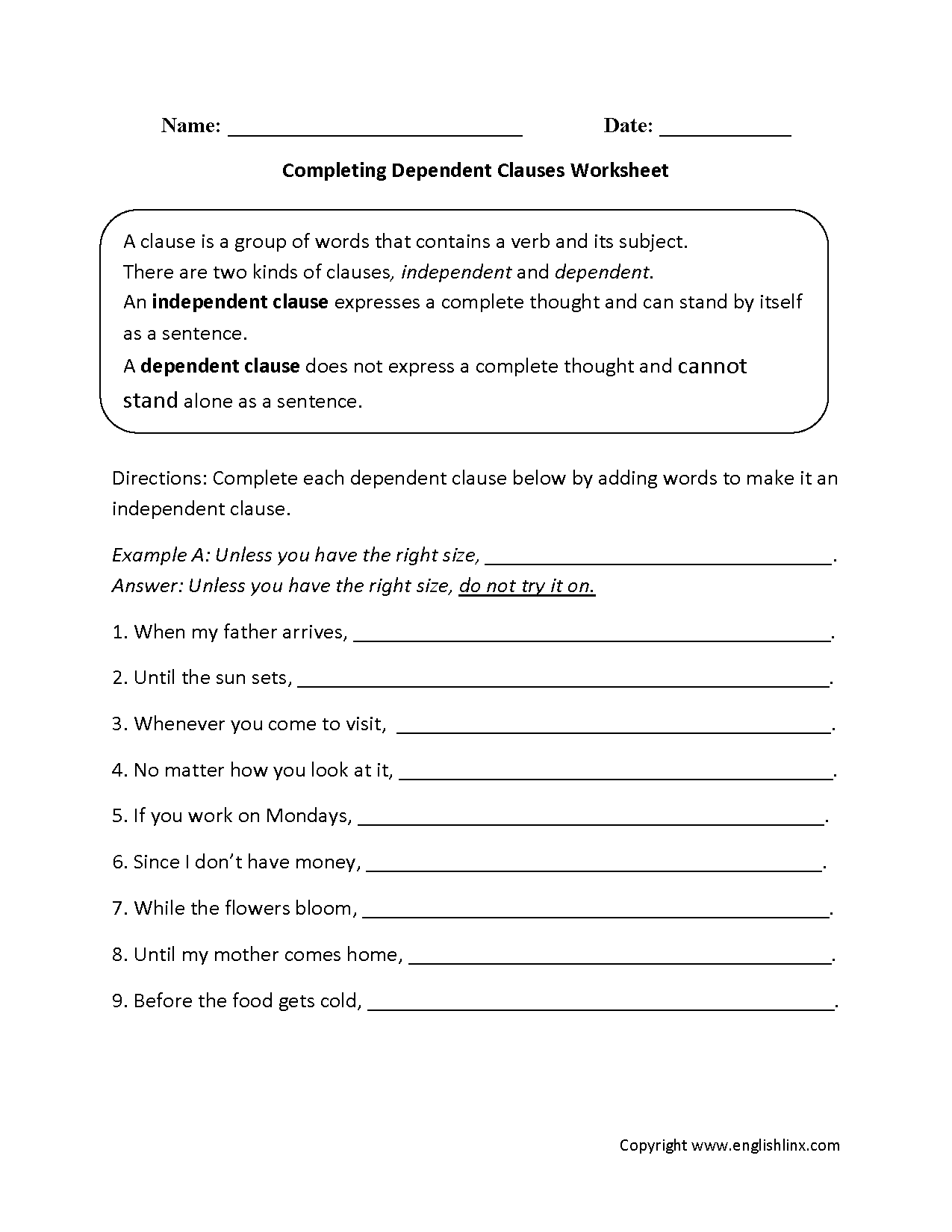 Completing Dependent Clauses Worksheet