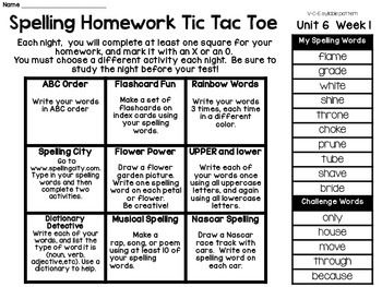Spelling Menus: Lists and Choice Boards for Homework and