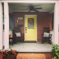#helloyellow! bright yellow front door with red brick ...