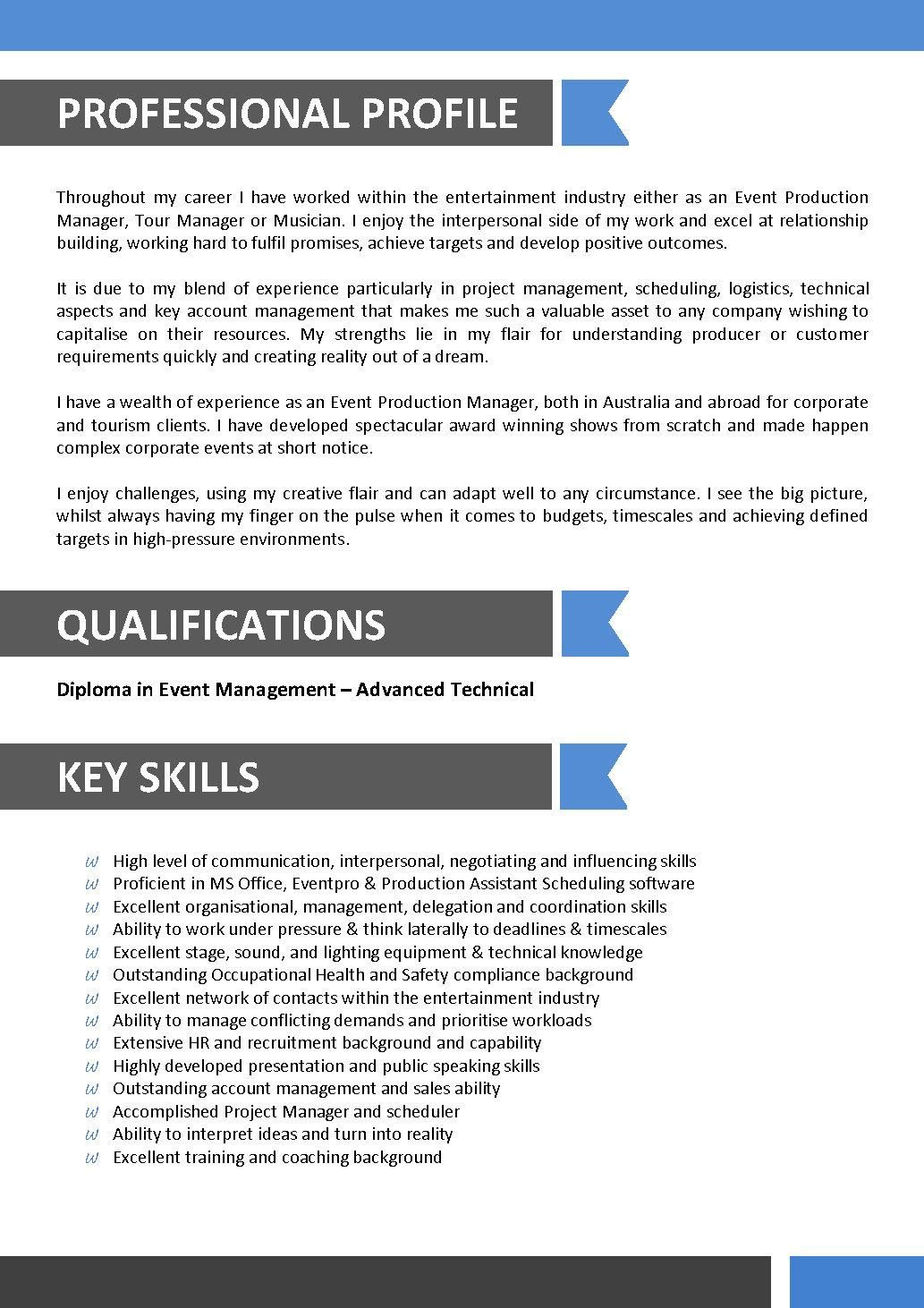 Sample Resume For Entertainment Industry