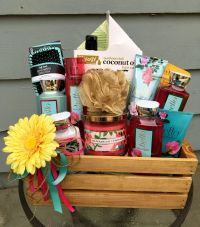 Bath theme basket / Diaper raffle prize | Floral theme ...