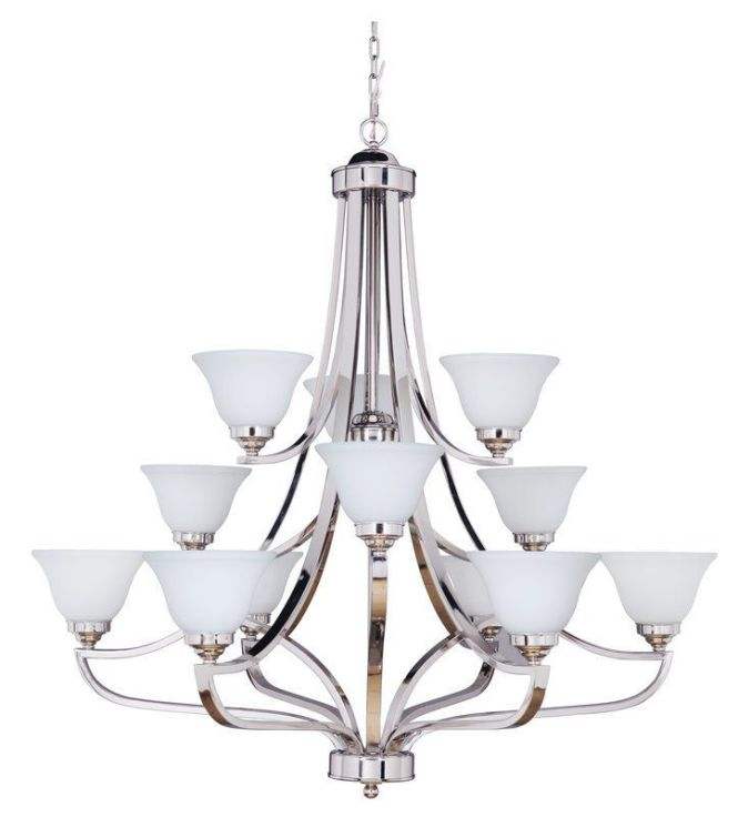 Jeremiah Lighting 9845 12 Portia Three Tier Light Chandelier 45 Inches Wide Polished
