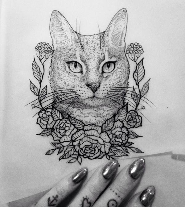 #illustration Cat Flower Dot #neotraditionel #