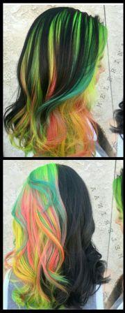 rainbow green black dyed hair color