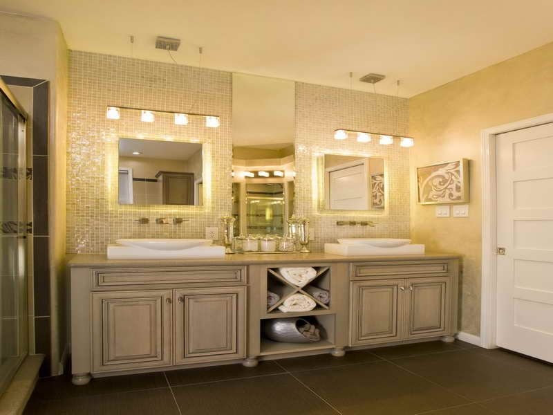 Large bathroom vanity cabinets with double sink and