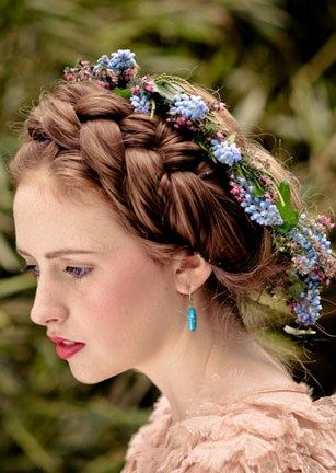 Wedding Coiffure In The Russian Style With Plaits And Flower