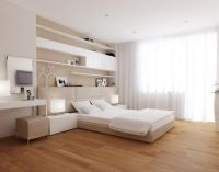 Wood Flooring and White Elegant Simple Decoration in
