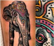 colorful elephant tattoo