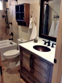 "Small, ""modern rustic"" cabin bathroom remodel with grey ..."