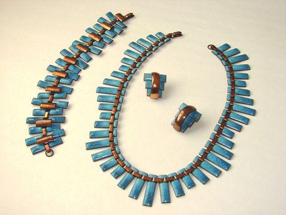 Matisse copper amp turquoise blue enamel setnecklace on