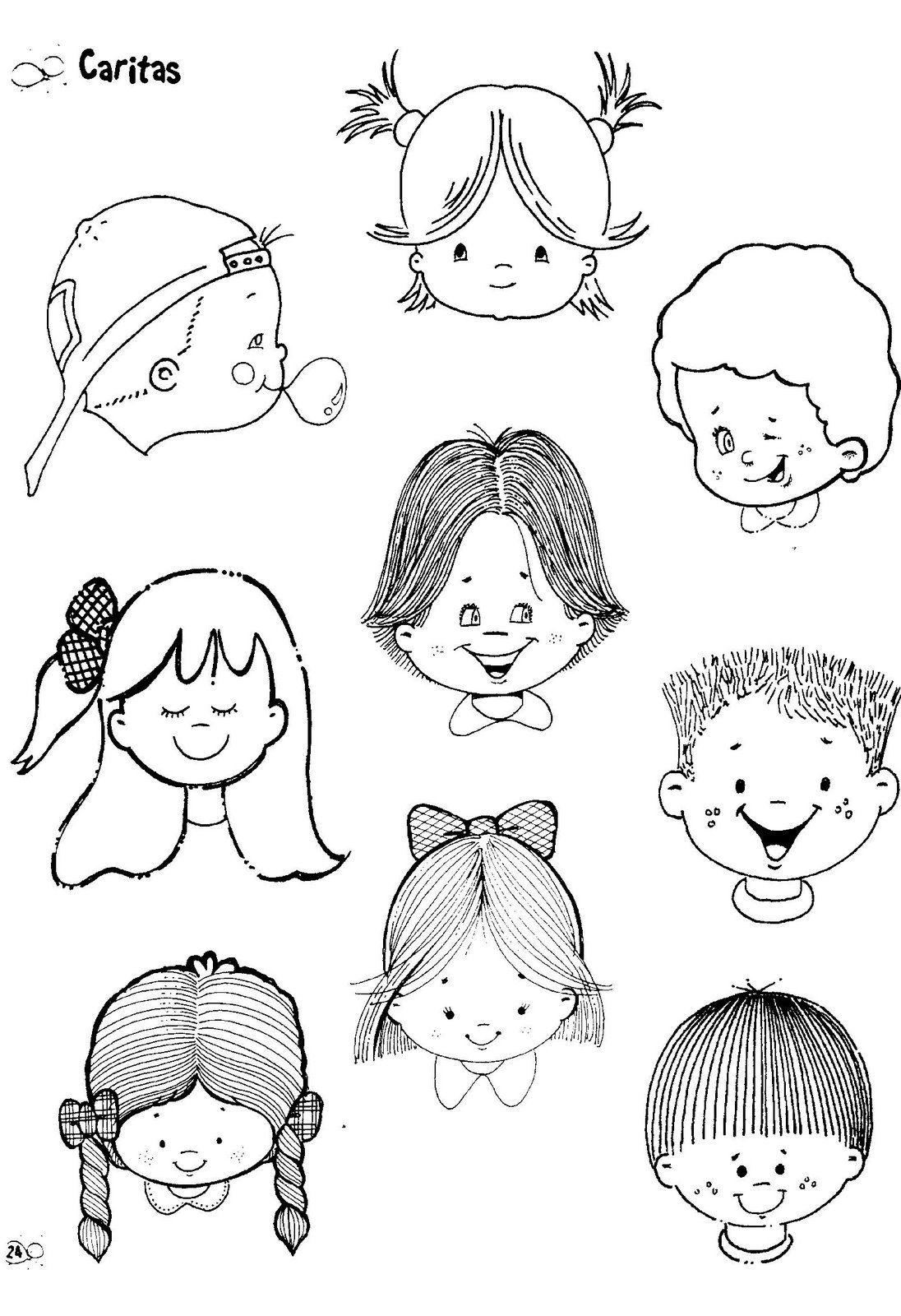 Fichas Infantiles: Caritas para colorear e imprimir