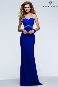7512 Electric Blue Strapless Prom Dresses 2015