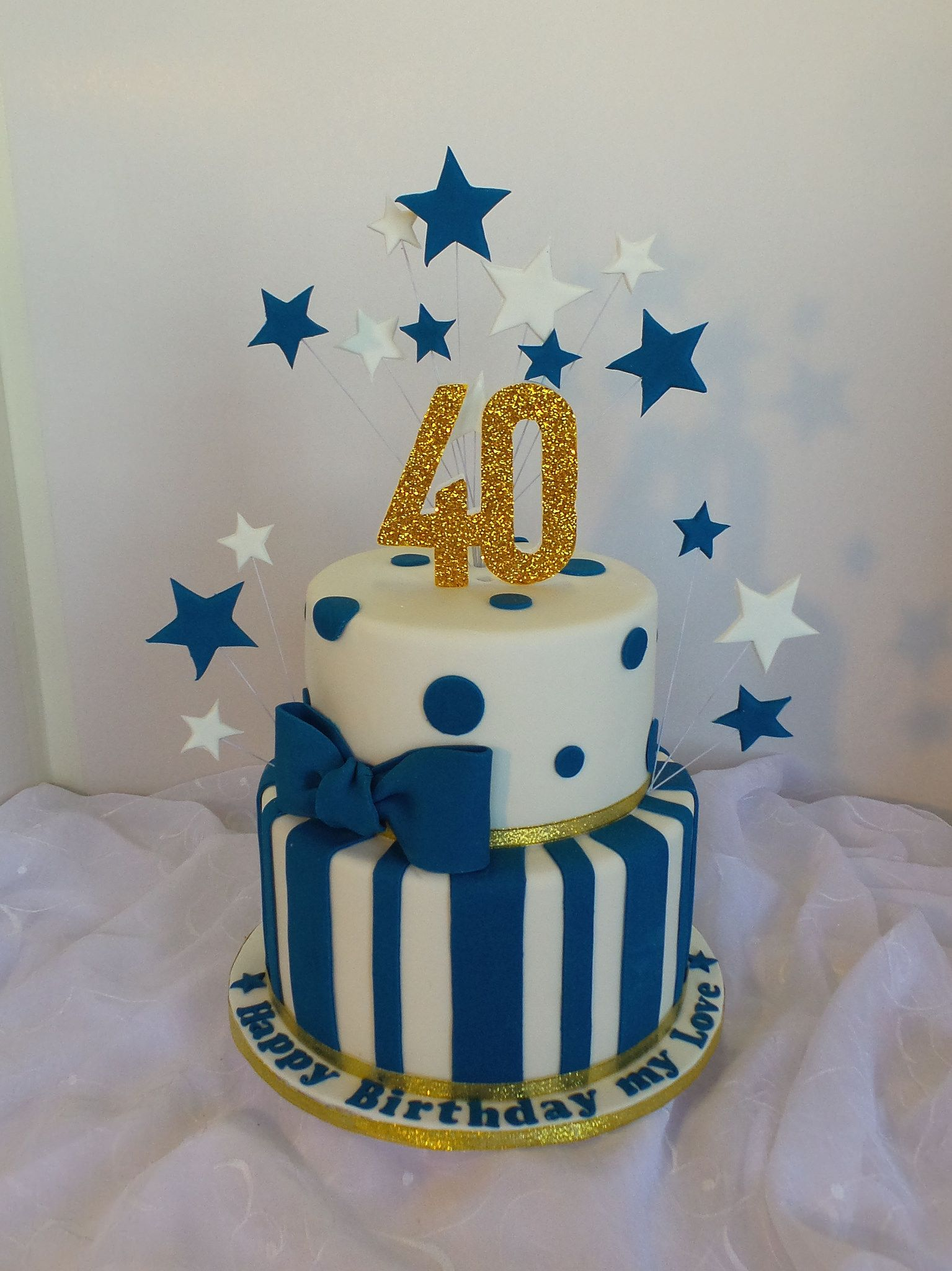 40th Two Tier White Navy Blue And Gold Birthday Cake