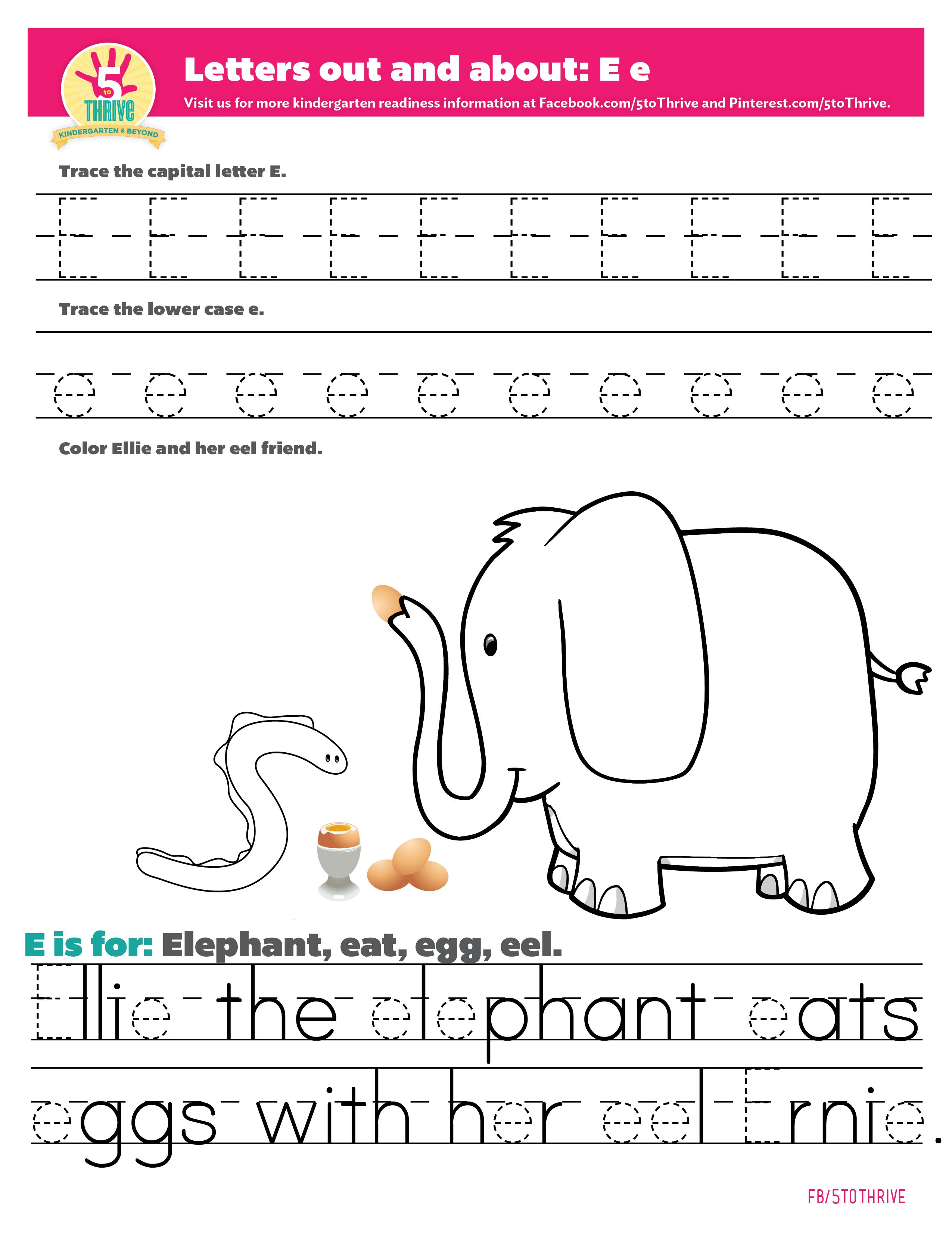 Letters Out And About The Letter E E Is For Elephant Eat Egg Eel Ellie The Elephant Eats