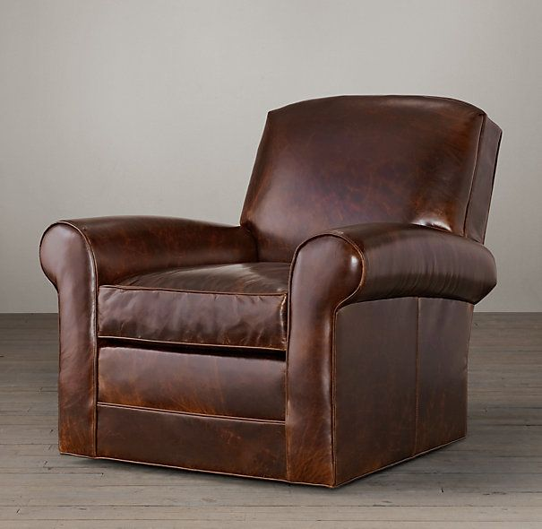 Lowell Leather Club Swivel Chair  River Ridge Furniture