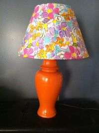 spray painted base and paper napkin mod podge lamp shade ...