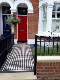 red garden brick wall london rail and gate victorian black ...