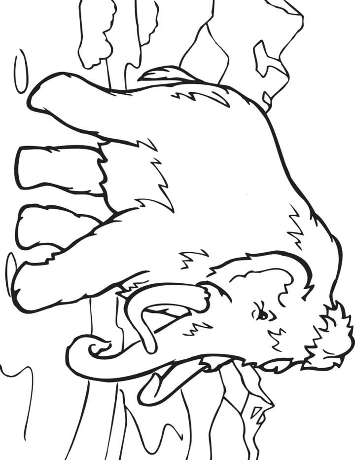 This coloring page for kids features a wooly mammoth