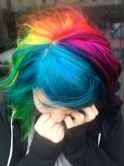 gorgeous rainbow hair blue purple
