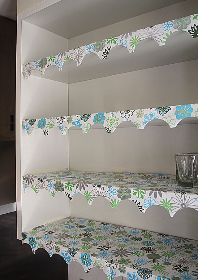 DIY Shelf Paper with Lovely Edging on Pinterest  Pantries