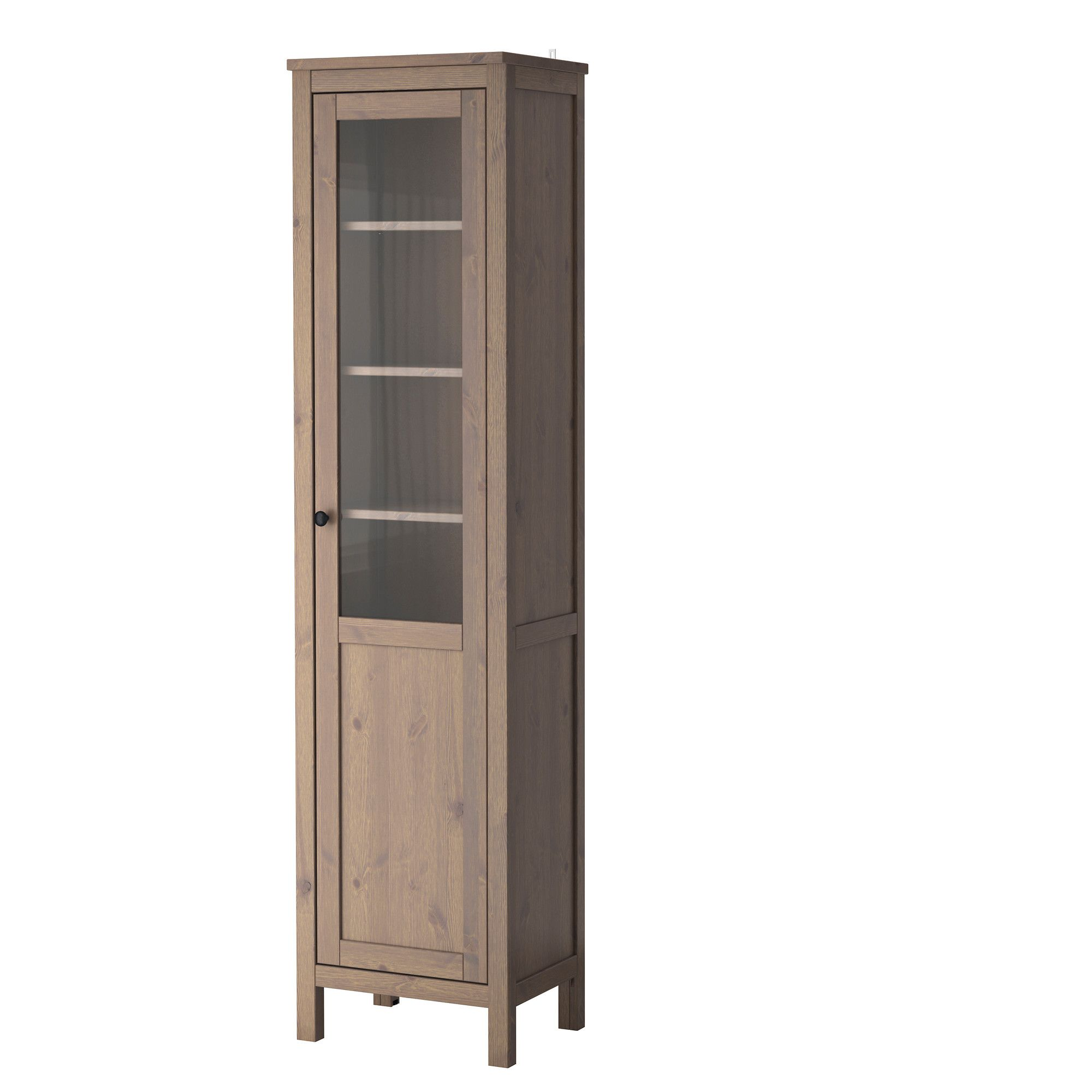 ikea solid wood kitchen cabinets unit led lights hemnes cabinet with panel glass door white stain