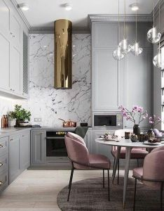 Luxe glam style kitchen and dining room interior design with marble backsplash crystal pendant lights also pin by jonatthan brino on pinterest kitchens interiors rh