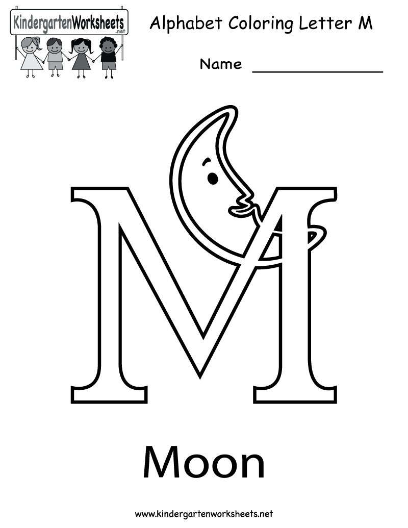 Kindergarten Letter M Coloring Worksheet Printable