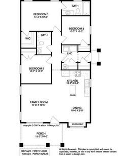 Floor Plan 1097 Sf 3b2b Laundry Near Bedrooms House Plans 2