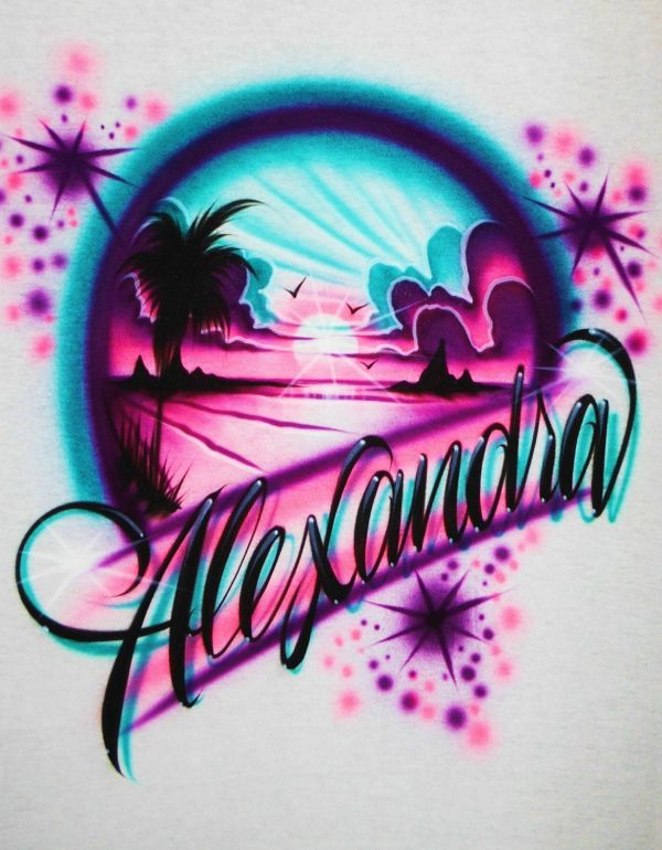 Airbrush T Shirt Beach Scene