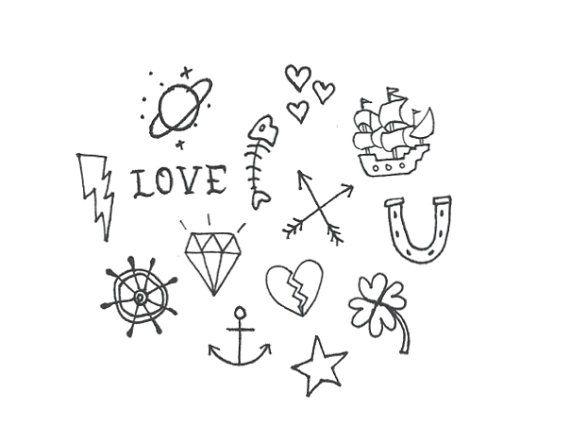 Tiny Hand Drawn Stick n' Poke Temporary Tattoos by