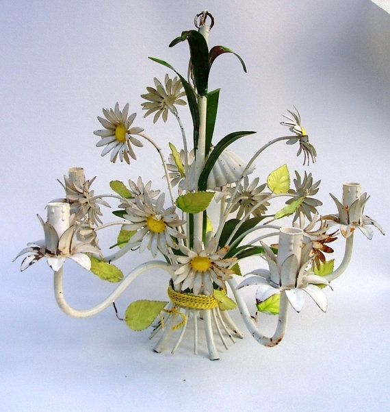 Large French Tole Chandelier Lamp Light Ing Vintage Toleware Daisy Flower Fl Ceiling