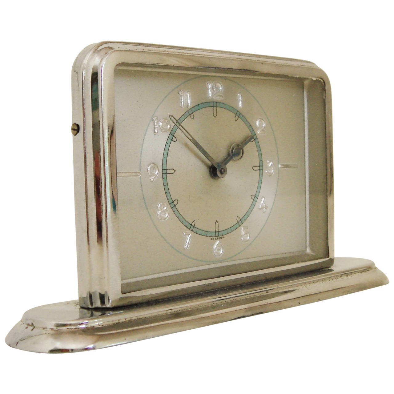 German Art Deco Small Chrome Desk Clock with Blue and